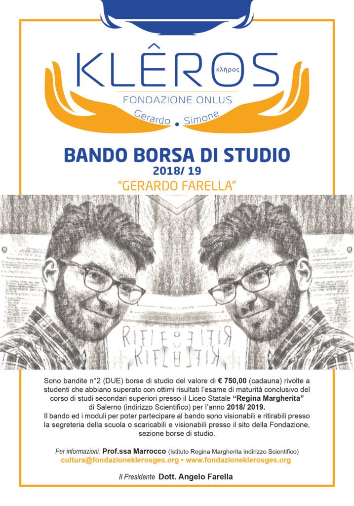 "BANDO BORSA DI STUDIO 2018-2019  ""GERARDO FARELLA"""