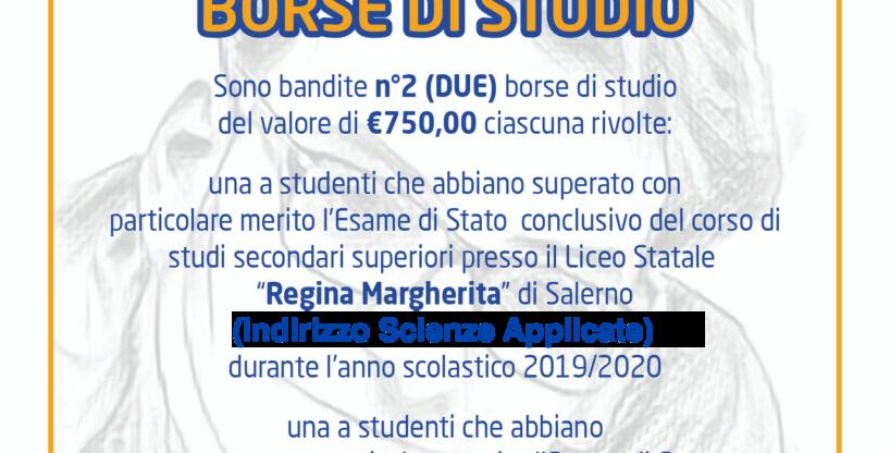 "BANDO BORSA DI STUDIO 2019-2020  ""GERARDO FARELLA"""