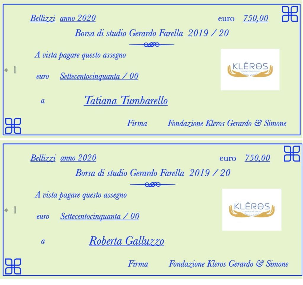 """Vincitori Borse di studio """" Gerardo Farella """" 2019"""